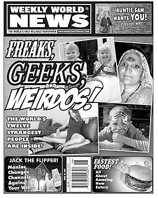 Weekly world news newspaper cover