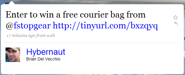 Twitter spam: Enter to win a camera bag